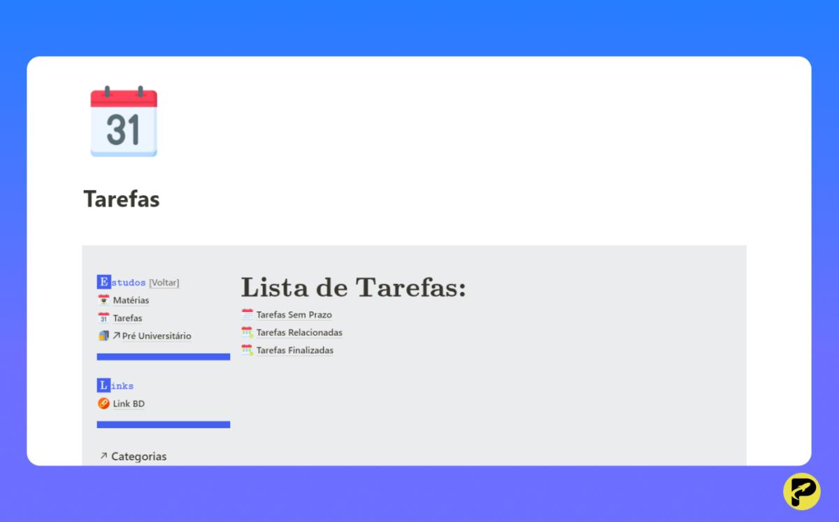 Dashboard de Estudos - Notion Template - ProdutiveMe Club